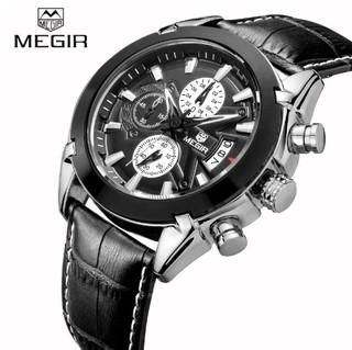 1828464a075 Megir  2020 Relógio Masculino Couro Genuíno Cronógrafo Data Automática