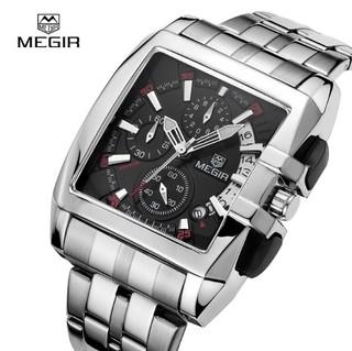 9ef05905a7c24 Megir  2018 Relógio Masculino Aço Inox Cronógrafo Data Automática