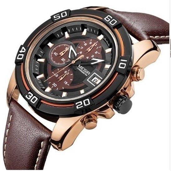2827a8278a2 Sold Off. Megir  2023 Relógio Masculino Couro Genuíno Cronógrafo Data  Automática