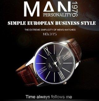 6b9dad838c5 Megir  2023 Relógio Masculino Couro Genuíno Cronógrafo Data Automática