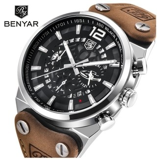 d2bedd82db0 Benyar  5112 Relógio Masculino Couro Genuíno Aço Inox Cronógrafo