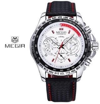 52539558bb9 Megir  1010 Relógio Masculino Couro Genuíno Retrô Aço Inox