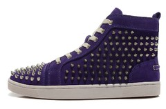 Louboutin Louis Woman's Spikes Flat Roxo - GVimport