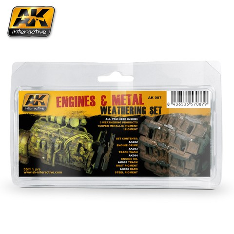 Engines and Metal Weathering Set AK Interactive - PRÉ-VENDA