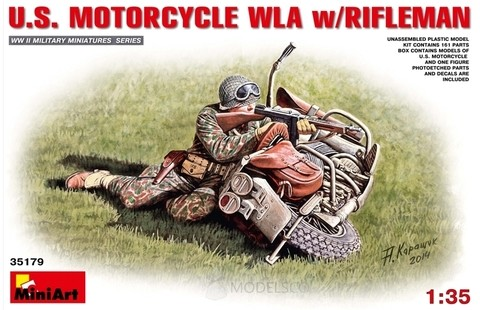 US Motorcycle WLA with Rifleman 1/35 Miniart
