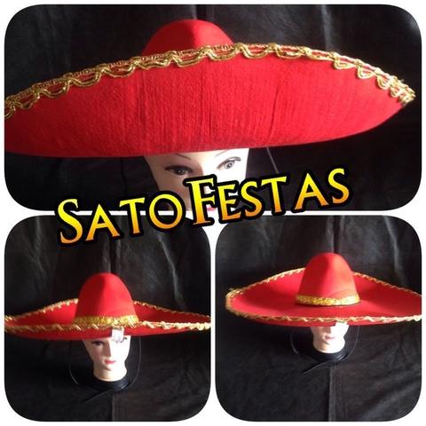 Chapéu Sombrero Luxo Vermelho - 1 Unidade 5ae9223f239