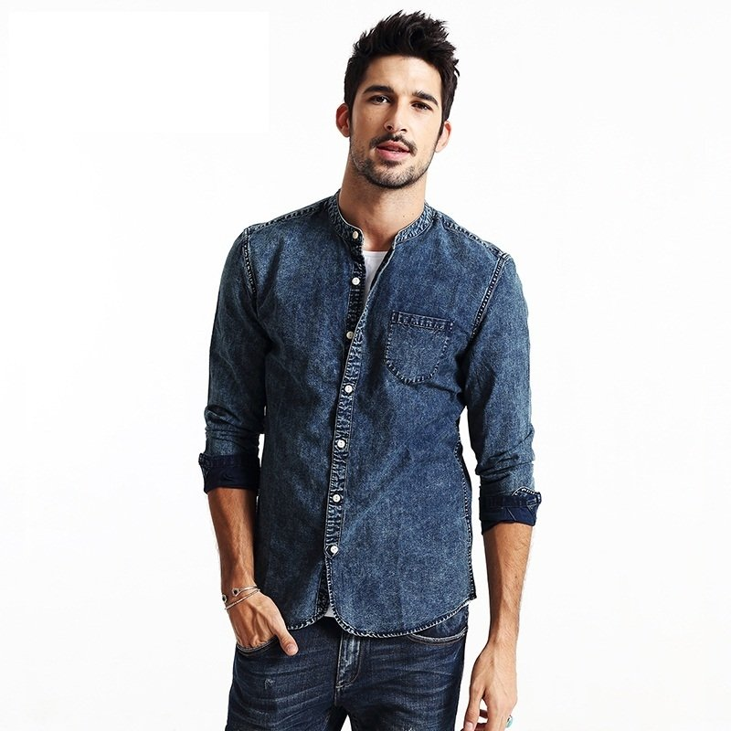 CAMISA JEANS CASUAL MANGAS COMPRIDAS MOD1563
