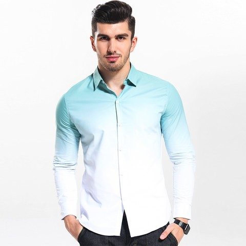 Camisa Slim Fit Gradiente Casual na internet