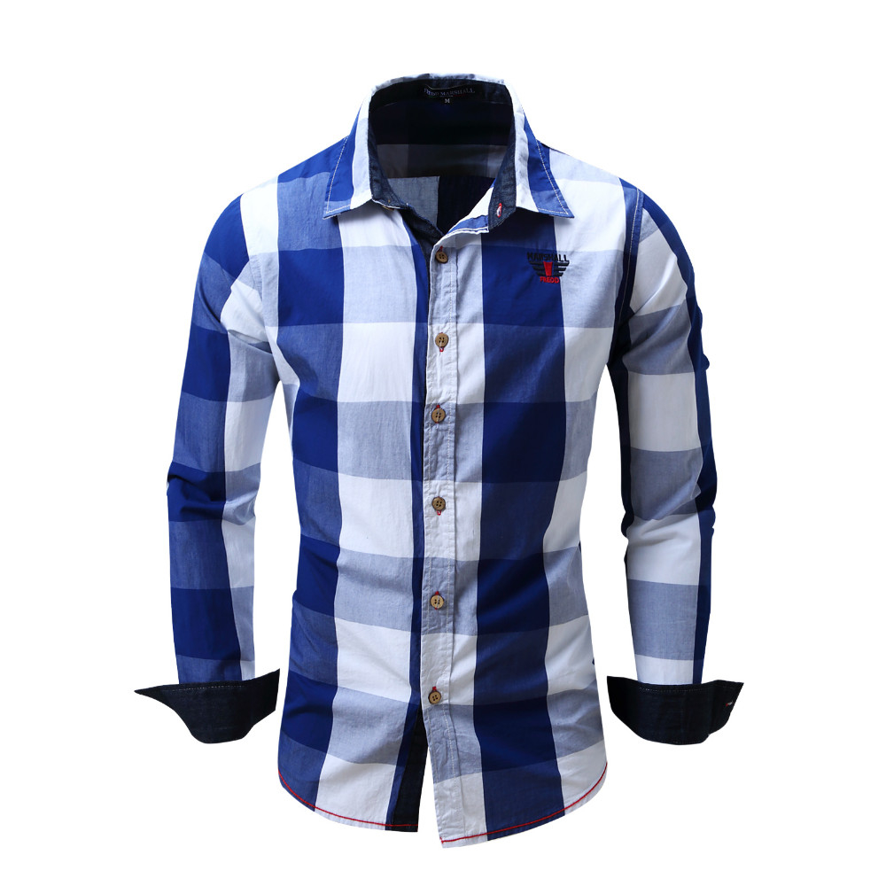2038c4c001 Camisa masculina 100% algodão Casual Xadrez