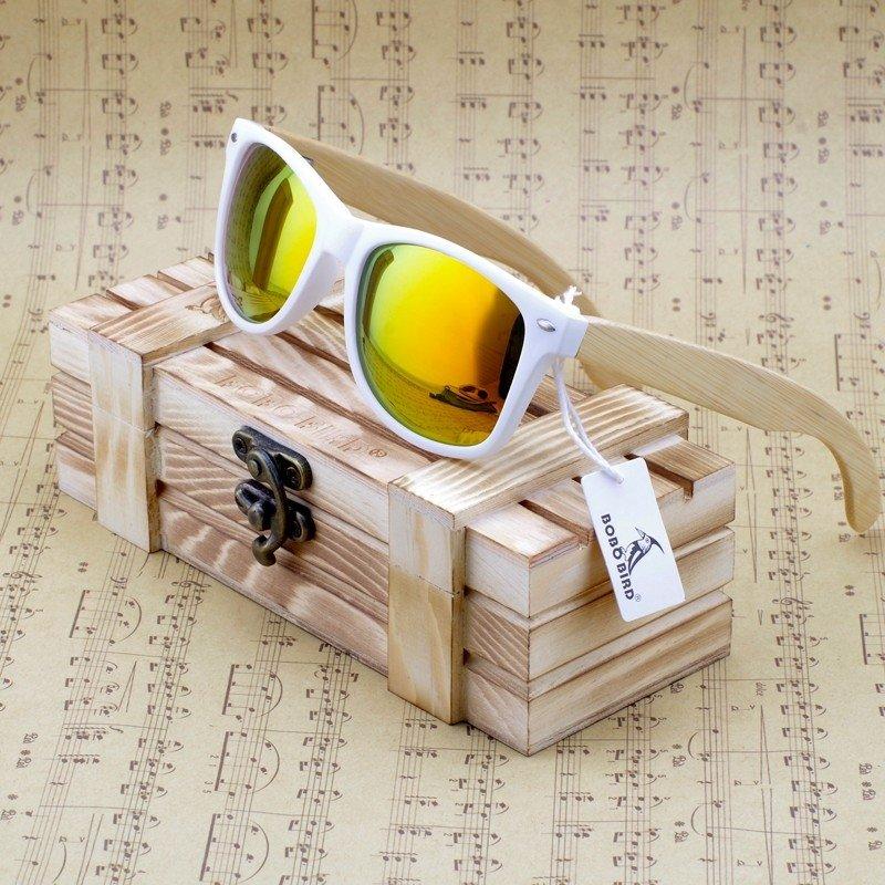 4548e28c7 Óculos de sol Bobobird retangular armação em madeira de bambu lentes  polarizadas Frete Grátis