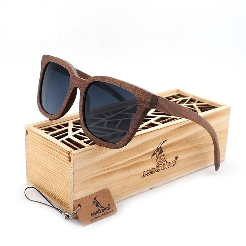 4d15f876e1882 Óculos de Sol feminino com armação em madeira - Frete Grátis