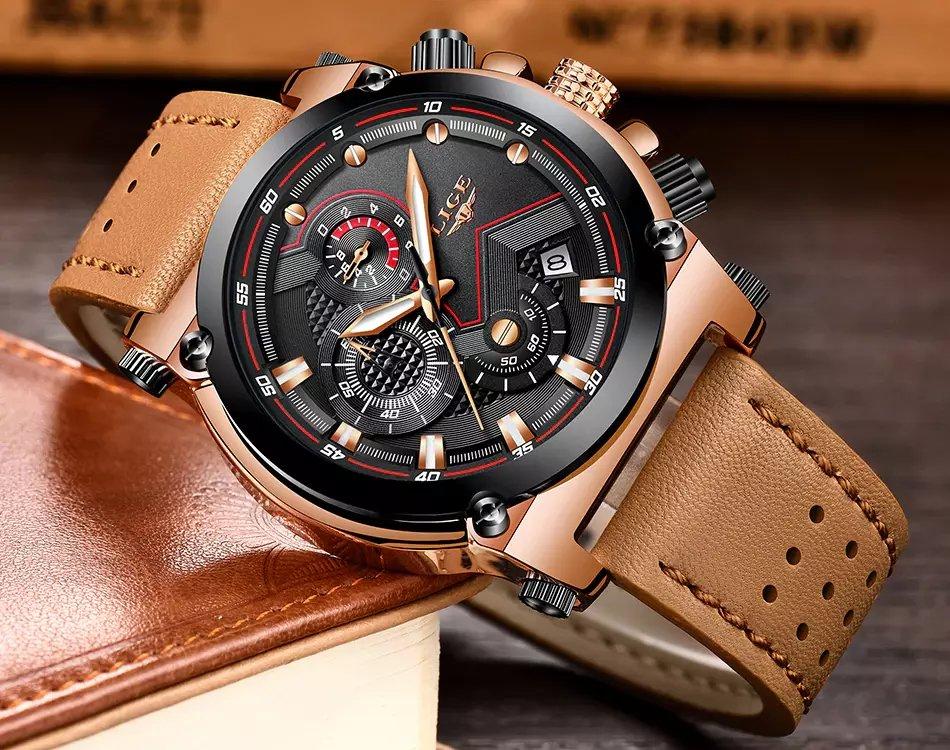 2e21bf570cd Relógio masculino Luxo LIGE pulseira em Couro - Frete Grátis