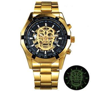 65029bec5e0 Relógio Mecânico Dourado Serie Steampunk Skull