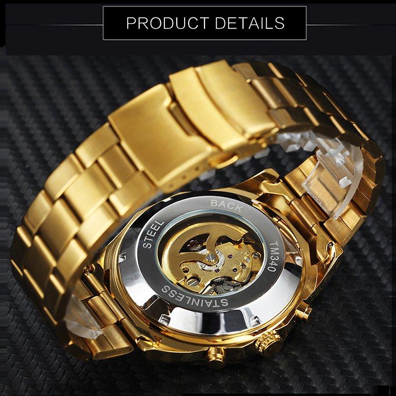 aec0ab36acb Relógio Mecânico Dourado - Mayortstore
