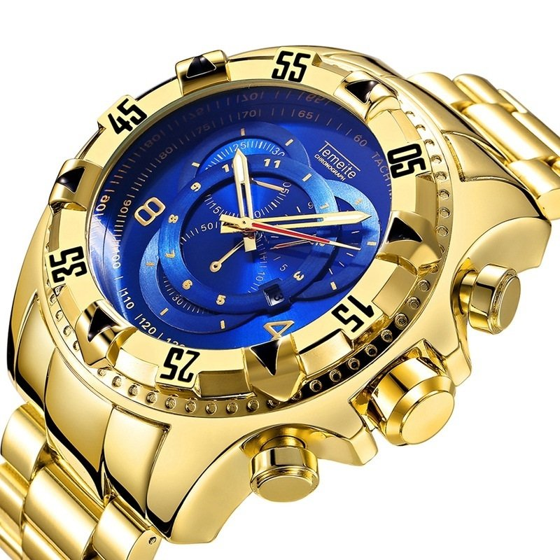 2518710fe5d Relógio Masculino dourado em aço inoxidável- Frete Grátis