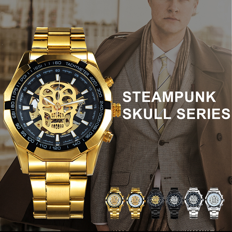eb07aeb6cd3 Relógio Mecânico Dourado Serie Steampunk Skull