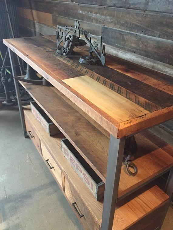 Mueble tv arrime madera reciclada y hierro - Madera reciclada muebles ...