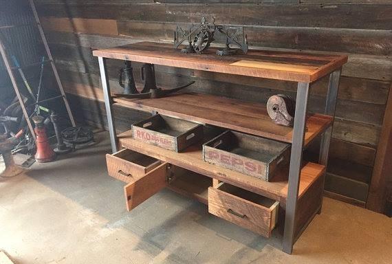 mueble tv arrime madera reciclada y hierro