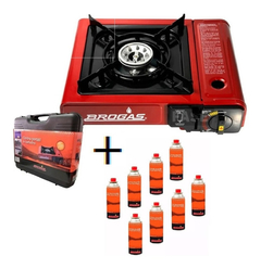 Pack Gas Butano X8 + Anafe Portatil Campin + Maletin