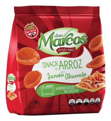 Snacks de Arroz 80gr - Jamon Ahumado - DON MARCOS