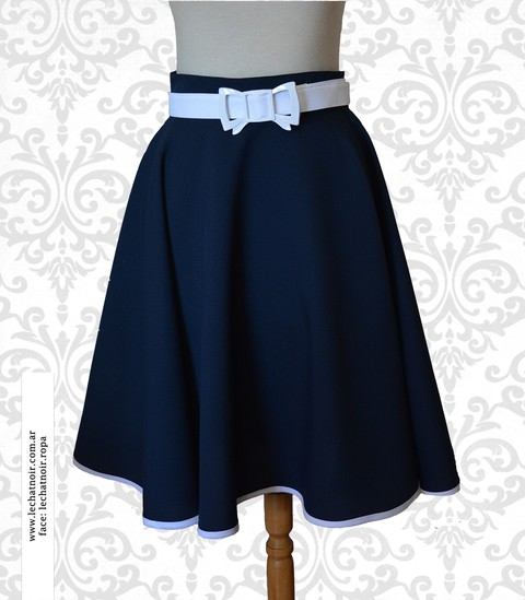 pollera plato pin up azul navy marinera patagonia bariloche ropa diseño emprendedores textiles estilo pin up falda pin up