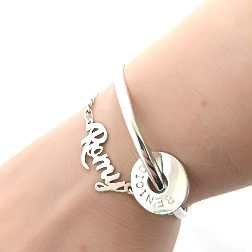 9e8fd8e8dbe4 pulsera Esclava Maciza donas grabadas plata 925 joyeria personalizada