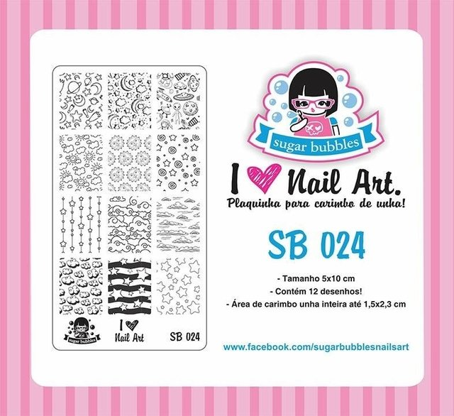 Placa de Stamping Sugar Bubbles SB 024