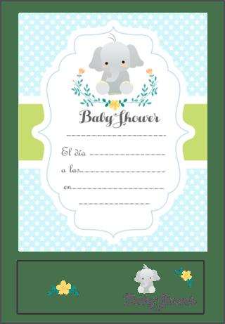 4e1b607fdd6f6 Comprar Invitaciones Baby Shower en katu  Elefante Celeste ...