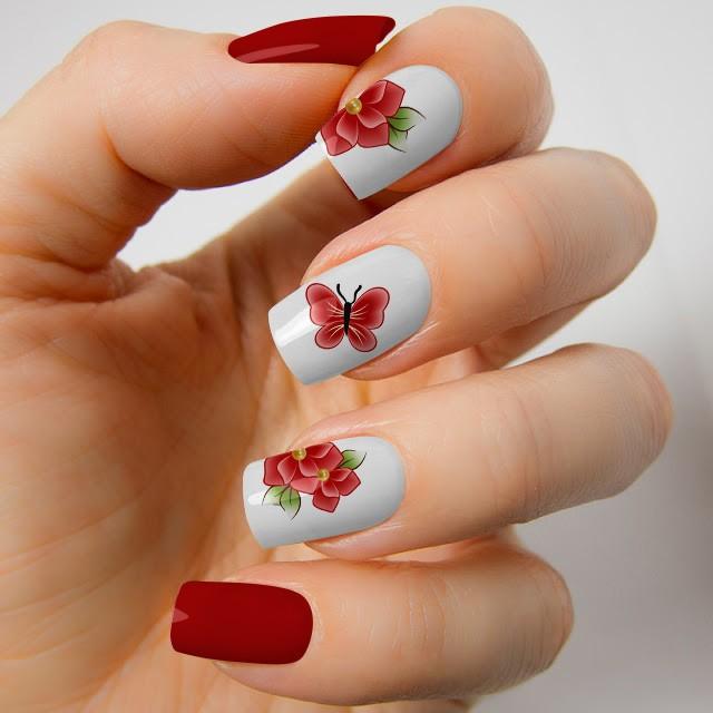 Armario Farmacia Antiguo ~ Adesivo de Unha Flores com Borboleta Vermelha Ref VEA43
