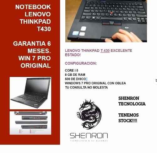 Notebook Lenovo T430 Corei5 500gb De Disco 4bg De Ram