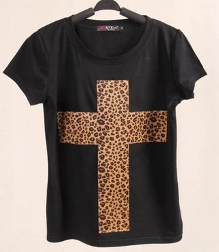 T-shirt Cruz leopardo