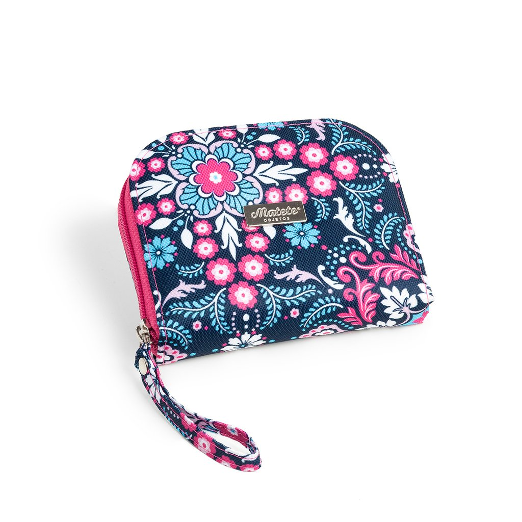 Billetera Pocket cierre Floral Trellis Blue