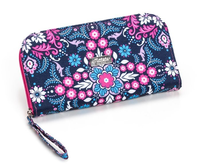 BILLETERA FLORAL TRELLIS BLUE