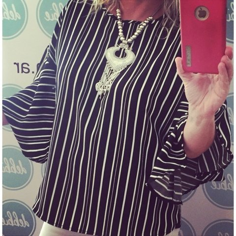 Blusa Stripes manga oxfords!