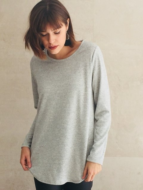 Sweater Lanilla gris larguito