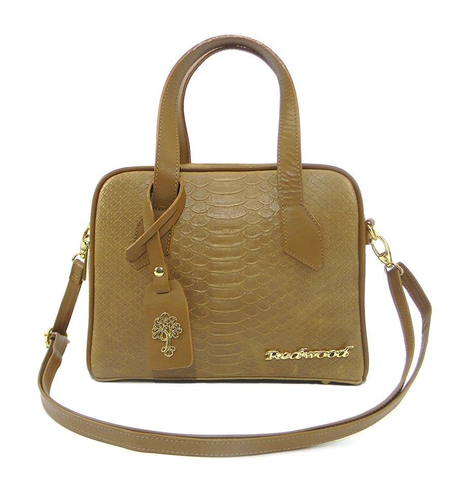 411205982 Bolsa Feminina Transversal Couro Python, Compre Agora, Redwood