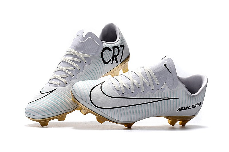 73be81e1ee0e6 Nike Mercurial Vapor XI - CR7 Branco com Dourado