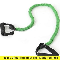 Banda Media Intensidad con Manillar (Verde) Entelada - MM Fitness