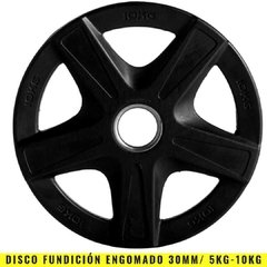 Discos Fundición Engomados 30 mm (5 Kg) Agarre - MM Fitness