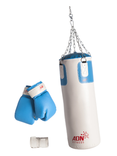 Kit Boxeo: Bolsa 80 x 30 cm, Guantes 12 OZ, Vendas 240 x 4.5 cm - MM Fitness