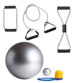 Kit Fitness Royal (banda 8, banda manija, body ball, gym ball esfero, inflador) Importado - MM Fitness