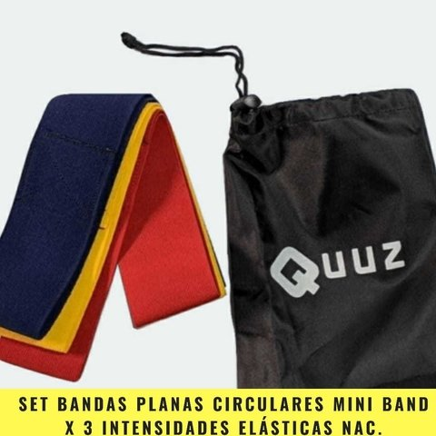 Set Bandas Planas Circulares Mini Band Elásticas Nacionales Tela (3 intensidades) - MM Fintess