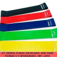 Set Bandas Planas Circulares Mini Band Piernas Importadas Latex (5 intensidades) - MM Fitness