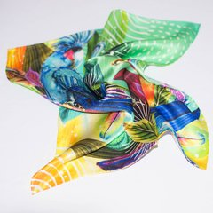 CACATÚA AZUL - VALISSE · 100% SILK SCARVES · A PIECE OF ART ·