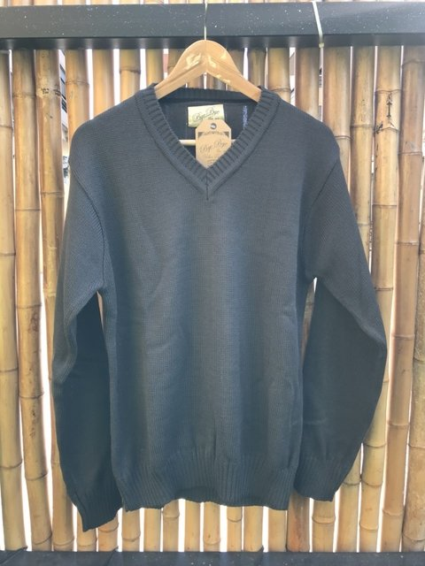 Sweater cuello v gris