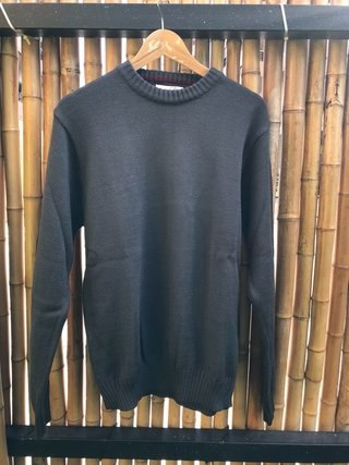 Sweater cuello redondo gris