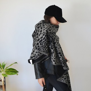 Poncho Animal print Gris