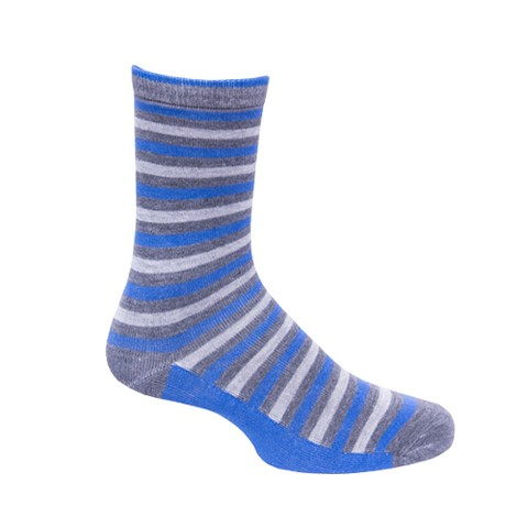 Calcetines grises con lineas azules