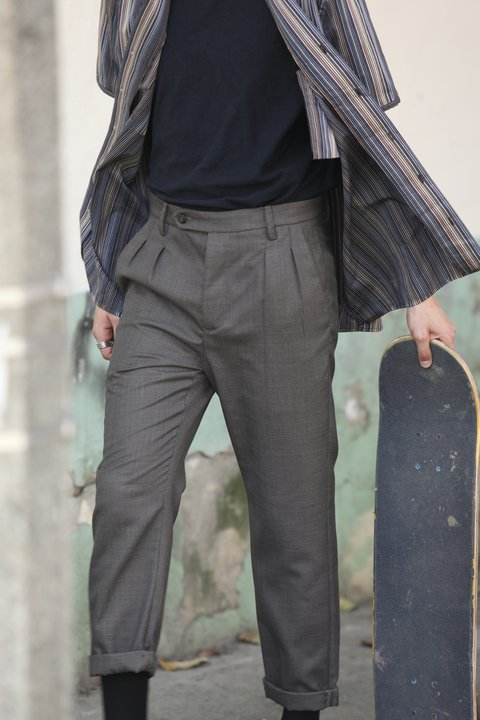 Pantalon de prenses en paño dark brown
