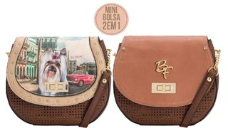 BOLSA TRANSV. RAFITTHY 2EM1, CHOCOLATE/NATURAL REF.: 31.91311